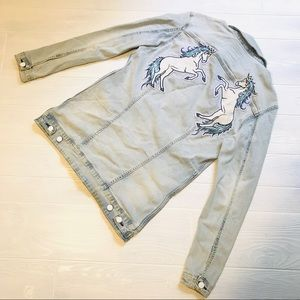 LuLaRoe Jaxon Unicorn Embroidered Jean Jacket
